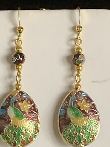 SALE *HANDCRAFTED VTG. MAJESTIC PEACOCK VIOLET CLOISONNE'  DROP EARRINGS*NEW