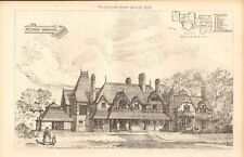 1873 ANTIQUE ARCHITECTURE, DESIGN PRINT- HILLSIDE, WARGRAVE, BERKSHIRE