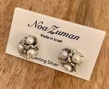 Noa Zuman Silver Earrings Flowers With Pearls Retail $58