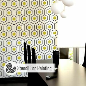 HICKS HEXAGON Modern Geometric Furniture Wall Floor Dizzy Duck Stencil for Paint