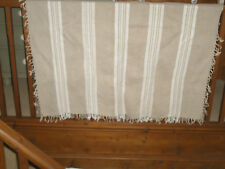 """ANTIQUE VINTAGE WOVEN BEIGE LINEN CLOTH WITH WHITE WOVEN PANELS 50"""" X 54"""" APROX"""