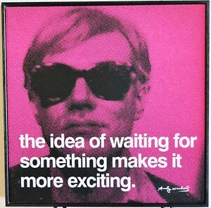 """Andy Warhol Pop Art Quote Waiting framed in hardwood 10.25"""" x 10.25"""" LAST 1"""