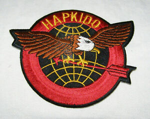 VINTAGE LARGE HAPKIDO MARTIAL ARTS EMBROIDERED PATCH- SPREAD-WING EAGLE + ARROW