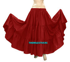 Red/Black - TMS Cotton 10 Yard 3 Tiered Skirt Belly Dance Gypsy Flamenco 33Color
