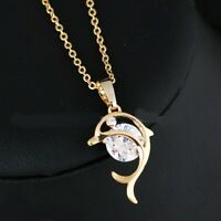 Collier pendentif dauphin Plaqué or, cristal transparent, Bijoux Joaillerie neuf