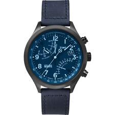 Orologio Timex T2P512 pelle blu moda uomo Intelligent quartz Fly-Back cronografo