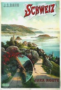 Original vintage poster NEUCHATEL JURA LAKE BIENNE c.1900
