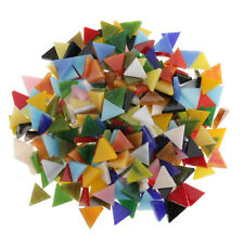 300pcs Assorted Color Glass Mosaic Tiles DIY Crafts 12mm Triangle