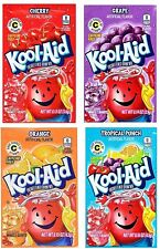 Pack of 24 Packets Kool-Aid Unsweetened Drink Mix 6 Grape, Cherry, Orange, Trop