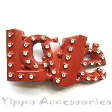 LOVE Red Letters w/ Rhinestones  Metal Fashion Belt Buckle