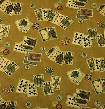 "WAVERLY ALL IN THE CARDS TEA STAIN Gold Poker Texas Holdem Fabric BY YARD 54""W"