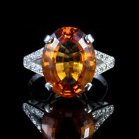 7CT CITRINE DIAMOND RING 18CT WHITE GOLD