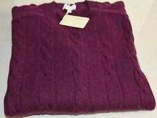 NEW Brioni Sweater Crew Neck CASHMERE Plum Cable Knit 3 XL XXXL