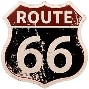 Route 66 Sign Vintage Metal Shop U.S. 66 High Way Road Tin Wall Decor Man Cave