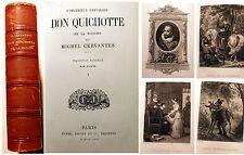 DON QUICHOTTE/MICHEL CERVANTES/ED FURNE/1866/DEUX TOMES EN UN/9 GRAVURES/RARE