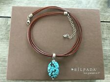 NEW SILPADA STERLING FOUR STRAND LEATHER CORD NECKLACE TURQUOISE PENDANT 1357