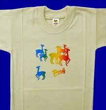 Peru T-Shirt beige, Gr.104*110: Vikunja bunt,Alpaka,Lama, Inka Indio Anden Tiere