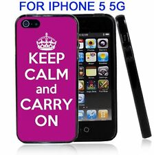 Purple Keep Calm and Carry On For Iphone5 5G Case Cover