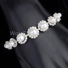 White Pearl Flower Diamante Bracelet Rhinestone Crystals Bridal Prom Gift Boxed