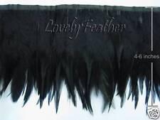 Hackle feather fringe of black color 1 yard trim for Crafts/Costume/Sewing