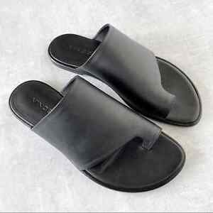Vince Leather Edris Slides Size 6 Black Sandals