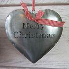 Grande Decoración De Navidad Metal Colgante Plata Corazón Árbol estrella o bola
