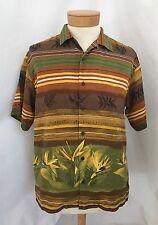 Tommy Bahama M Hawaiian Shirt Silk Brown Tan Green Camp Floral