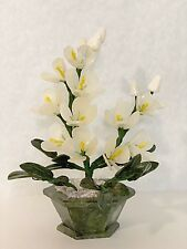 Handcrafted Jade and Glass Artificial Bonsai White Orchid Flower Basket