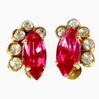 VINTAGE GOLD Fushia Pink PASTE CLIP ON EARRINGS