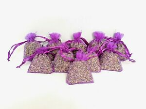 10 French Blue Lavender Bags Natural Handmade Fresh Buds Scent Aroma Moth Draws