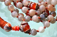 Natural Moonstone Carnelian Beads Buddhist 8mm 108+1 Hand Knotted Mala Necklace