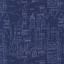Sarah jane castle plans bleu marine michael miller tissu fq ou plus 100% coton