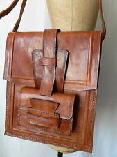 VINTAGE 1970 70s ancien sac besace CUIR artisanal ethnique hippie bohème TBE