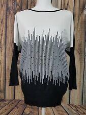 ALFANI Womens Size L Knit Sweater Top Black White Dolman Sleeves Rhinestones