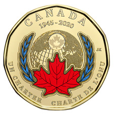 2020 Canada Dollar 75th Anniversary of UN Charter COLOURED Loonie
