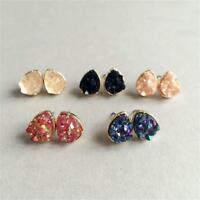 Women's Quartz Crystal Druzy Stud Earrings Teardrop Natural Rock Stone Gold Stud