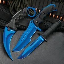 CS:GO Style Black Legion Atomic Blue Triple Knife Set-Karambit-Huntsman-Military