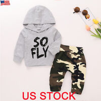 Newborn Baby Boys Girls Hoodie T-shirt Tops+Pants Outfits Toddler Clothes Set