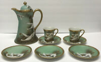 Set 8 Vintage Nippon S & K Handpainted Japanese White Crane Green Tea Set