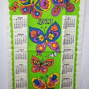 Vintage Linen Tea Towel Calendar 1973 Floral Butterflies Green Purple Orange NOS