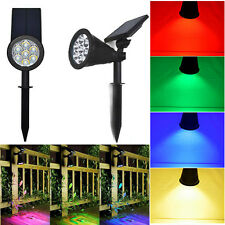 Solar Powered RGB LED Mount Flood Light Outdoor Home Yard Garden Lawn Spot Lamp