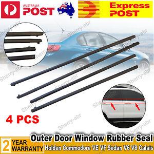 For Holden Commodore VE VF Sedan V6 V8 Black 4x Outer Door Window Rubber Seal