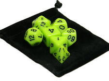 Wiz Dice 7 Die Polyhedral Set Sticky Ichor Opaque Neon Yellow With Dice Bag