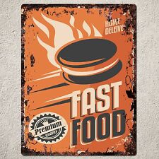 PP0149 Vintage FAST FOOD Sign Home Shop Cafe Restaurant Interior Wall Decor Gift