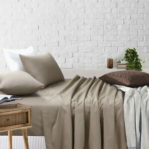 Single/KS/Double/Queen/King 4 Piece Flat Fitted Bed Sheet Set Pillowcases Beige