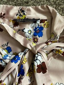 M&S COLLECTION Size 20 Satin Floral Tie Neck Ruffle Blouse Pink