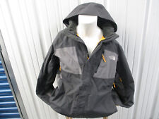 THE NORTH FACE XL BUTTON ZIP UP GREY YELLOW HOODED JACKET