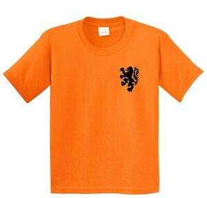 Children's Netherlands T Shirt. Kid's Holland Tee in orange.