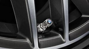 New Genuine BMW Set of 4 Aluminium TPMS Tyre Valve Caps BMW Logo 36122447401