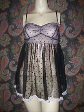 Victoria's Secret Black/Pink Sheer Polka Dot Babydoll Mini Nighty Lingerie M